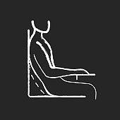 Bad sitting habit chalk white icon on black background
