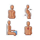 Bad posture problems RGB color icons set