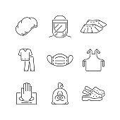 Disposable medical uniform linear icons set