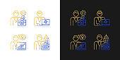 Senior executive roles gradient icons set for dark and light mode