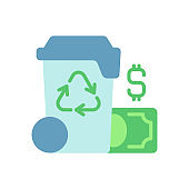 Waste management cost vector flat color icon