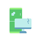 Electronic waste vector flat color icon