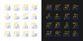 Company staff related gradient icons set for dark and light mode
