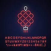 Chinese knotting neon light icon