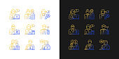 Employees team gradient icons set for dark and light mode