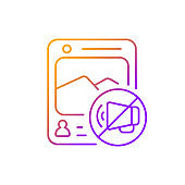 Social media censorship gradient linear vector icon