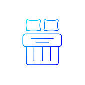 Double bed set gradient linear vector icon