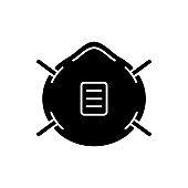 N 95 mask black glyph icon