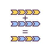 Mutation process RGB color icon