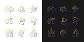 Critical mindset and attitude gradient icons set for dark and light mode