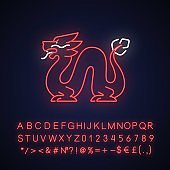 Loong dragon neon light icon