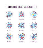 Prosthetics concept icons set