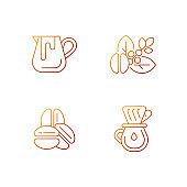 Coffee preparation gradient linear vector icons set