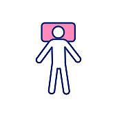 Sleep position on back RGB color icon