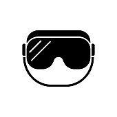 Medical goggles black glyph icon