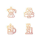 Coffee making appliance gradient linear vector icons set