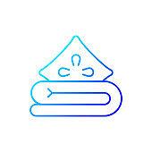 Bed linen gradient linear vector icon