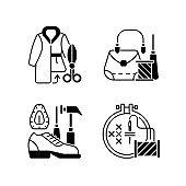 Clothes repair black linear icons set