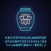Chinese porcelain neon light icon