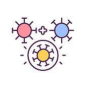 Virus mutation process RGB color icon