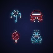 Chinese culture neon light icons set