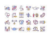 Virus mutations RGB color icons set