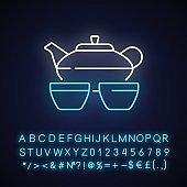 Chinese tea set neon light icon