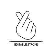 Finger heart linear icon