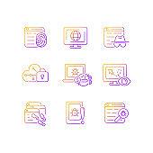 Online behavior monitoring gradient linear vector icons set