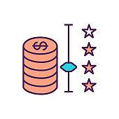 Saving money RGB color icon