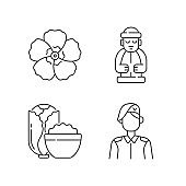Korean nationals symbols linear icons set