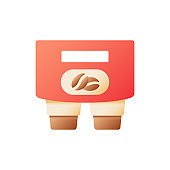 Coffee to carry vector flat color icon