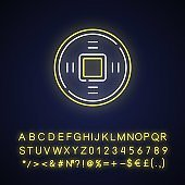 Ancient Chinese coins neon light icon