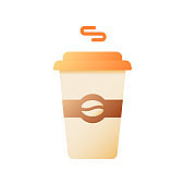 Hot coffee in disposable cup vector flat color icon