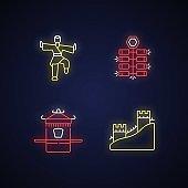 Traditional China neon light icons set