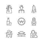 Culture of Korea linear icons set