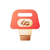 Coffee to go vector flat color icon