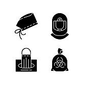 Personal protective equipment black glyph icons set on white space
