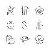 Korean culture linear icons set