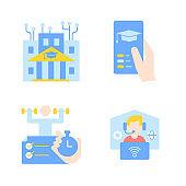 Distance education vector flat color icon set