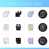 Household textile products icons set
