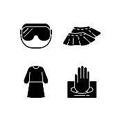 Disposable medical wear black glyph icons set on white space