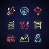 Oriental culture neon light icons set