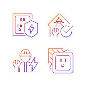 Electrician service gradient linear vector icons set