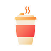Hot tea in take out cup vector flat color icon