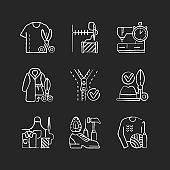 Sewing chalk white icons set on black background