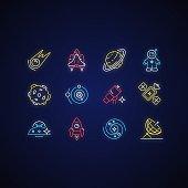 Astronautic neon light icons set