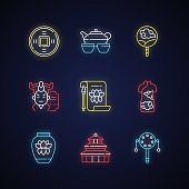 Chinese traditions neon light icons set