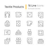 Textile products linear icons set
