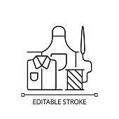 Work clothes repair linear icon